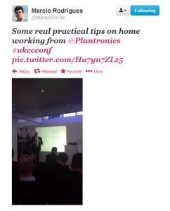 MarcioonTW #ukccconf Plantronics tweet