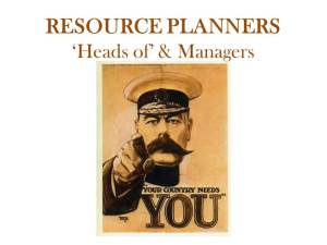 Resource Planners - Your Country Needs You