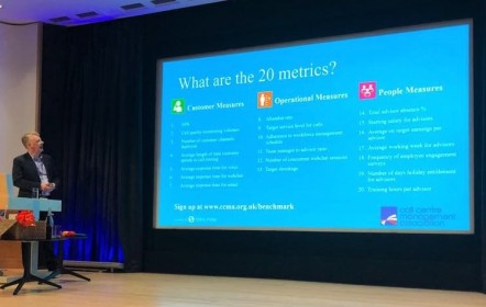 Sabio CCMA benchmark what are the 20 metics National Contact Centre Conference